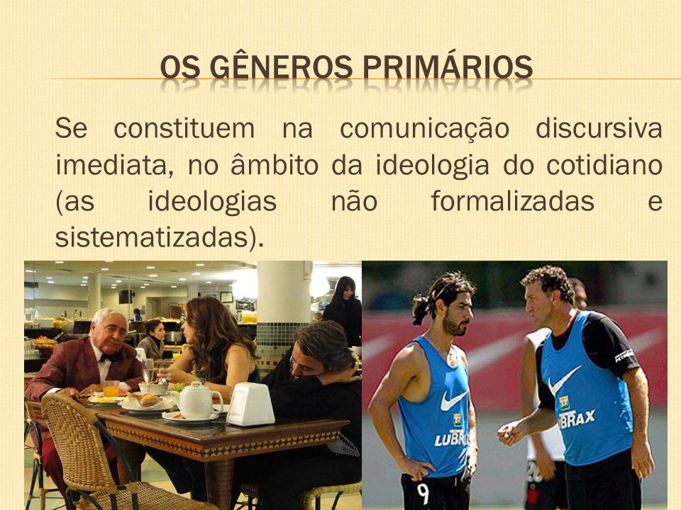 Se constituem na comunicação discursiva imediata, no âmbito da ideologia do cotidiano (as ideologias não formalizadas e sistematizadas).