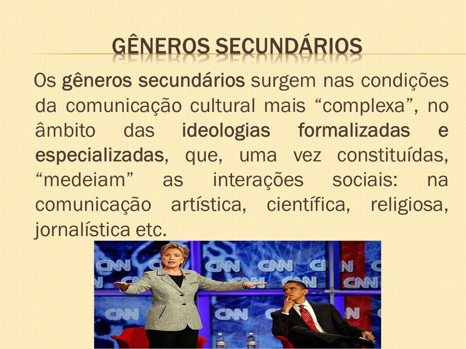Os gêneros secundários surgem nas condições da comunicação cultural mais complexa, no âmbito das ideologias formalizadas e especializadas, que, uma ve