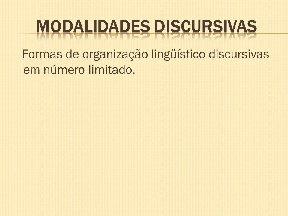 Formas de organização lingüístico-discursivas em número limitado.