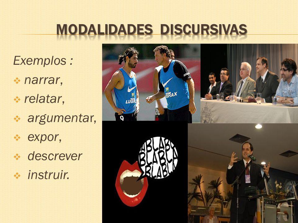Exemplos : narrar, relatar, argumentar, expor, descrever instruir.