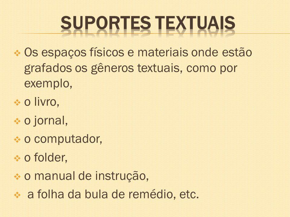 Os espaços físicos e materiais onde estão grafados os gêneros textuais, como por exemplo, o livro, o jornal, o computador, o folder, o manual de instr