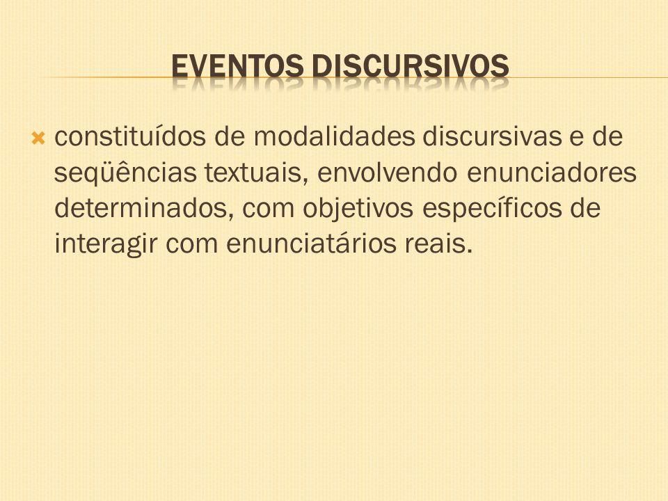 constituídos de modalidades discursivas e de seqüências textuais, envolvendo enunciadores determinados, com objetivos específicos de interagir com enu