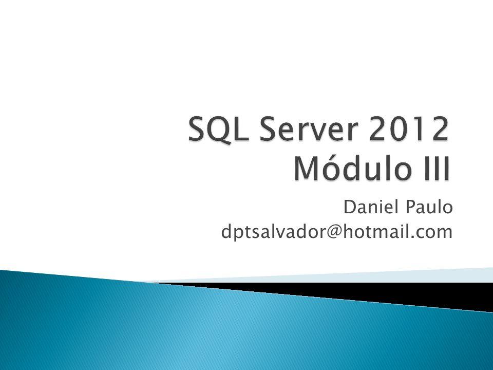 Instâncias do SQL SERVER - Instância é a instalação do SQL no computador, com configurações e usuários próprios - É possível instalar até 50 instâncias - INSTANCE DEFAULT – é identificada pelo nome do computador em que é executada - NAMED INSTANCES – identificada pelo nome do computador e nome da instância - {nome do computador} \ {nome da instância}