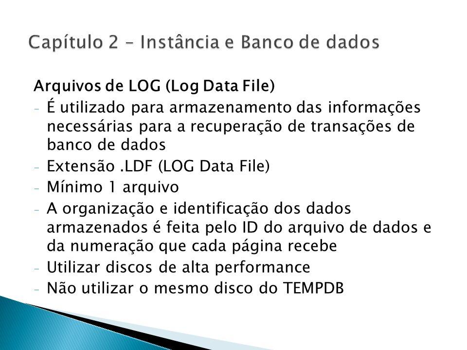 Arquivos de LOG (Log Data File) - É utilizado para armazenamento das informações necessárias para a recuperação de transações de banco de dados - Exte