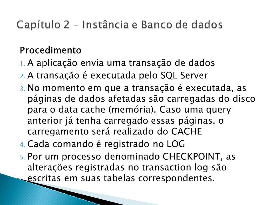 Procedimento 1. A aplicação envia uma transação de dados 2. A transação é executada pelo SQL Server 3. No momento em que a transação é executada, as p