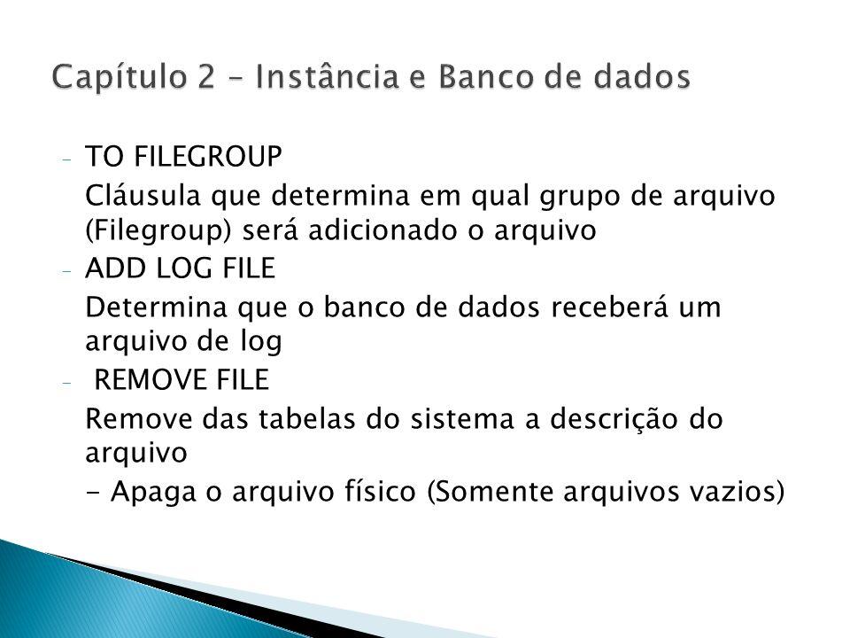 - TO FILEGROUP Cláusula que determina em qual grupo de arquivo (Filegroup) será adicionado o arquivo - ADD LOG FILE Determina que o banco de dados rec