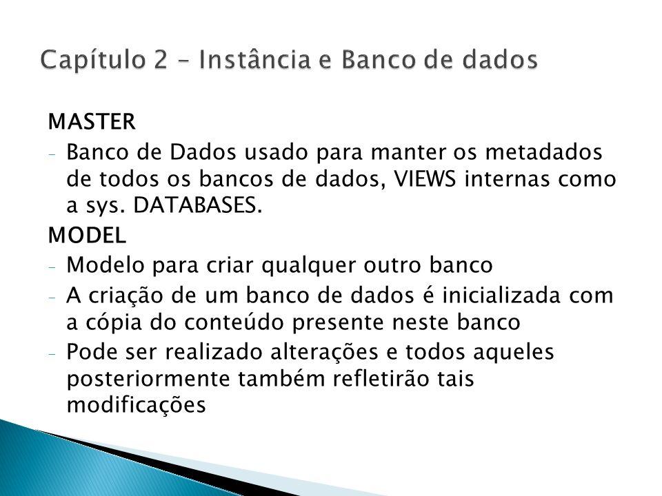 MASTER - Banco de Dados usado para manter os metadados de todos os bancos de dados, VIEWS internas como a sys. DATABASES. MODEL - Modelo para criar qu
