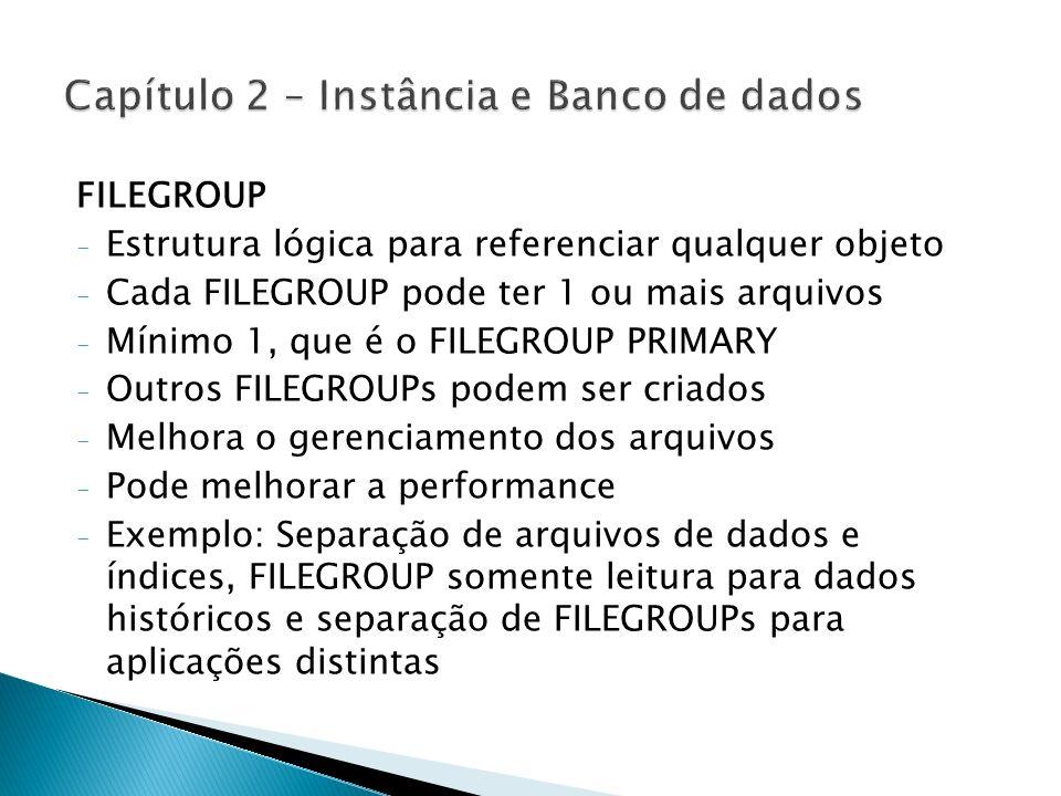 Características - Mais de um banco de dados não pode utilizar o mesmo FILEGROUP - Pelo fato dos espaços de log e de dados serem controlados separadamente, os arquivos de LOG nunca ocupam um FILEGROUP - Permite alocar objetos específicos - Todo banco possui um FILEGROUP PRIMARY - Backup separados por FILEGROUP - Apenas tabelas e índices podem ser indicados para um FILEGROUP