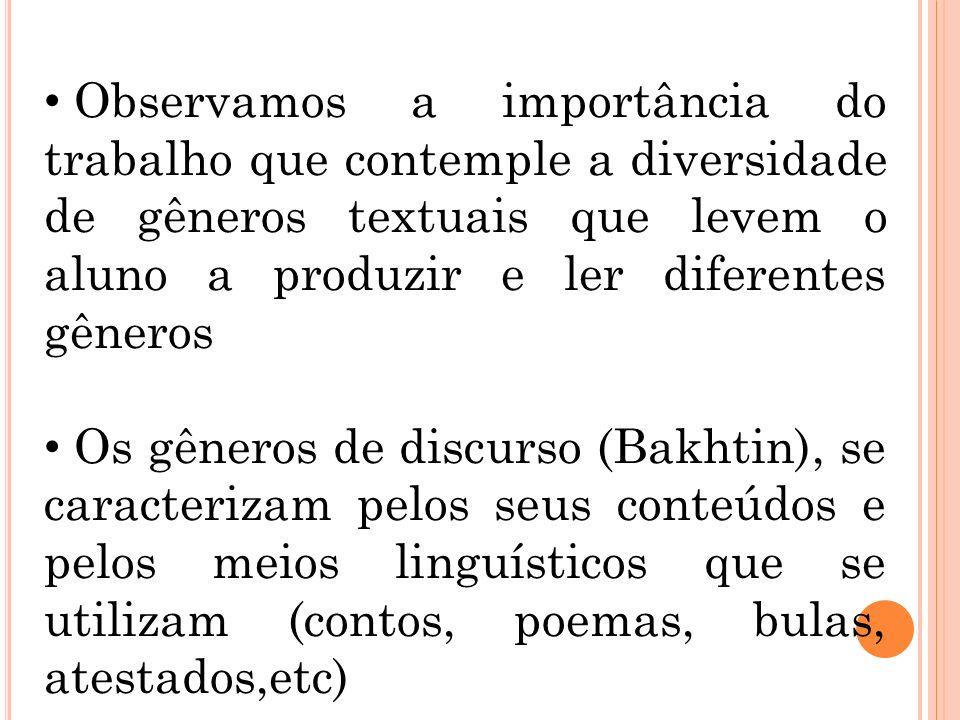 Observamos a importância do trabalho que contemple a diversidade de gêneros textuais que levem o aluno a produzir e ler diferentes gêneros Os gêneros