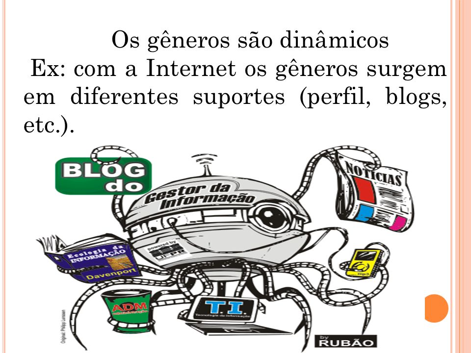 Os gêneros são dinâmicos Ex: com a Internet os gêneros surgem em diferentes suportes (perfil, blogs, etc.).
