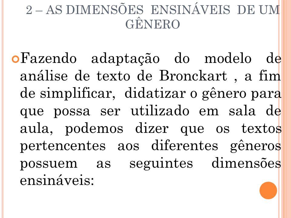 2 – AS DIMENSÕES ENSINÁVEIS DE UM GÊNERO Fazendo adaptação do modelo de análise de texto de Bronckart, a fim de simplificar, didatizar o gênero para q