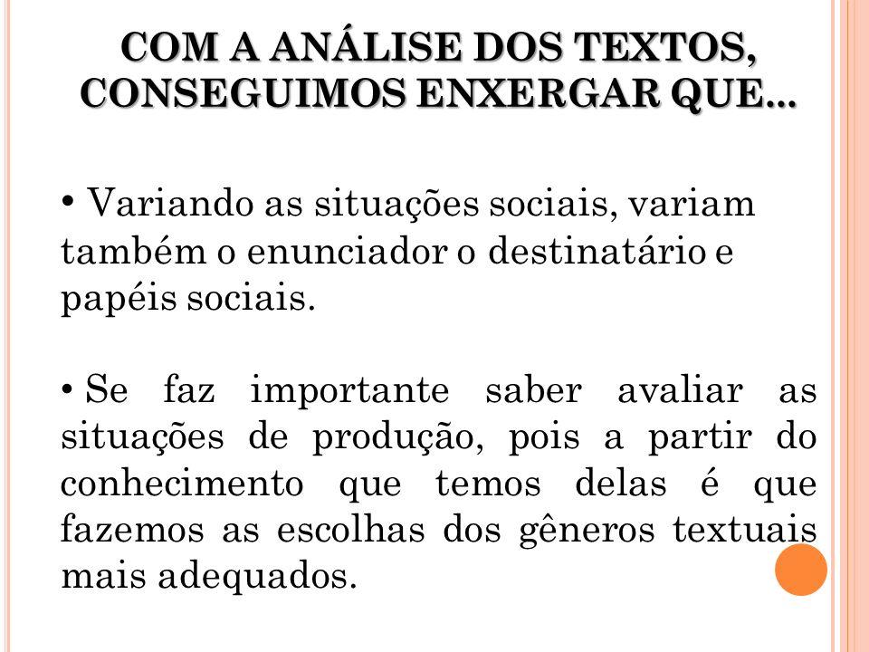 Variando as situações sociais, variam também o enunciador o destinatário e papéis sociais. Se faz importante saber avaliar as situações de produção, p