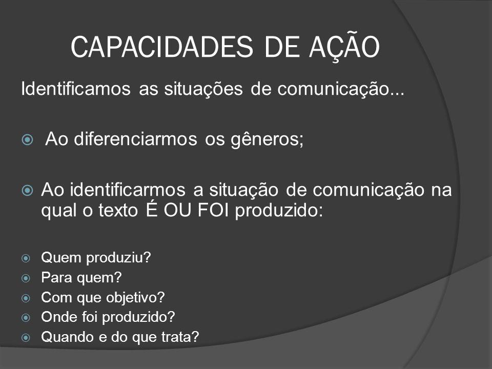 CAPACIDADES DE AÇÃO Identificamos as situações de comunicação... Ao diferenciarmos os gêneros; Ao identificarmos a situação de comunicação na qual o t