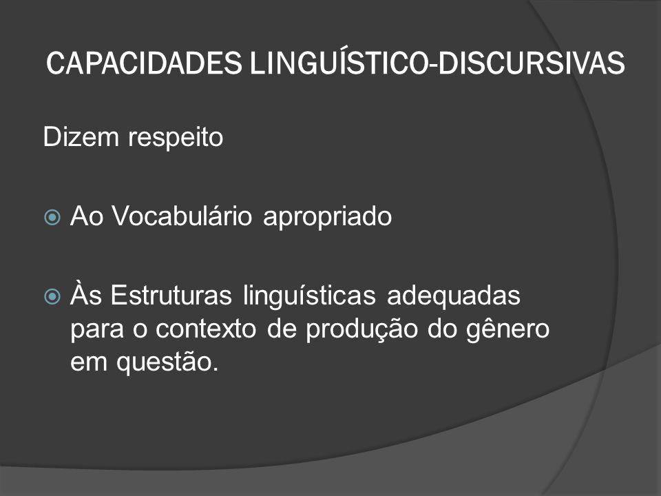 CAPACIDADES LINGUÍSTICO-DISCURSIVAS Dizem respeito Ao Vocabulário apropriado Às Estruturas linguísticas adequadas para o contexto de produção do gêner