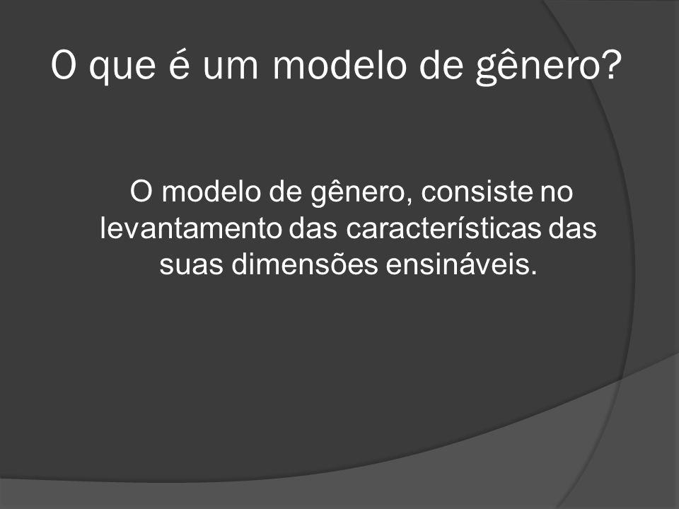 O que é um modelo de gênero? O modelo de gênero, consiste no levantamento das características das suas dimensões ensináveis.