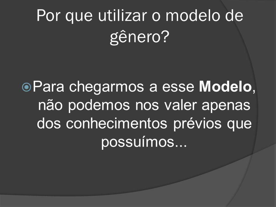 Por que utilizar o modelo de gênero? Para chegarmos a esse Modelo, não podemos nos valer apenas dos conhecimentos prévios que possuímos...
