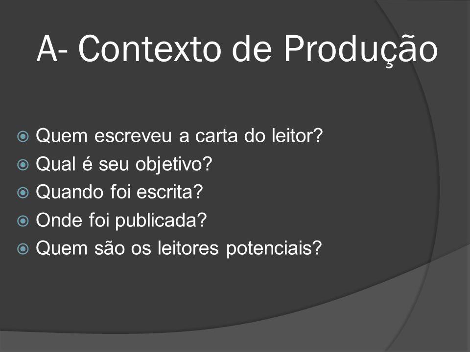 A- Contexto de Produção Quem escreveu a carta do leitor? Qual é seu objetivo? Quando foi escrita? Onde foi publicada? Quem são os leitores potenciais?
