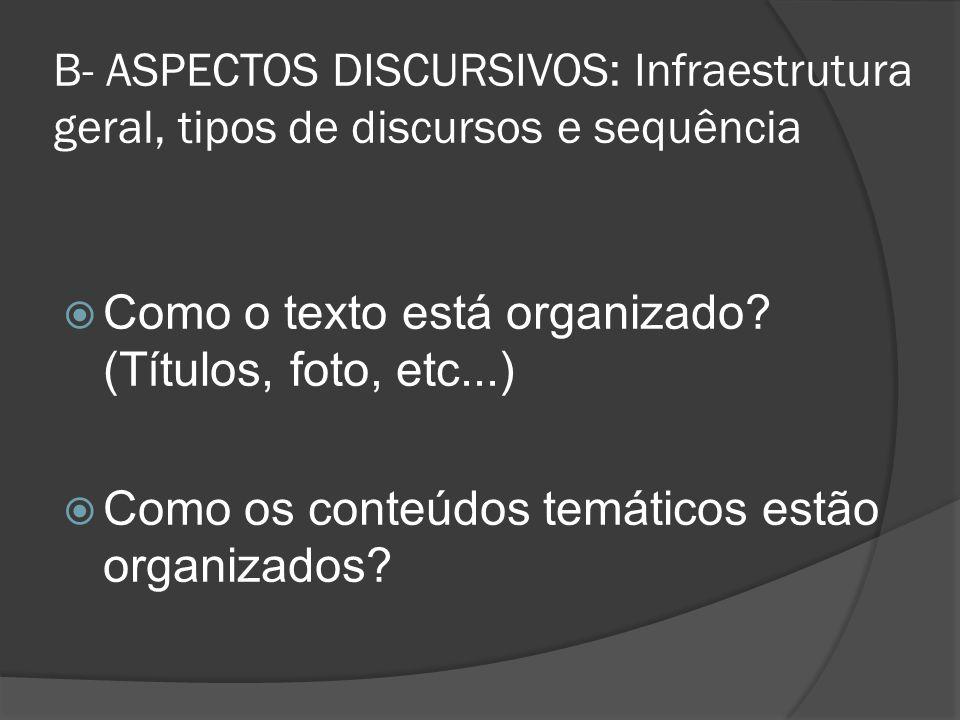 B- ASPECTOS DISCURSIVOS: Infraestrutura geral, tipos de discursos e sequência Como o texto está organizado? (Títulos, foto, etc...) Como os conteúdos