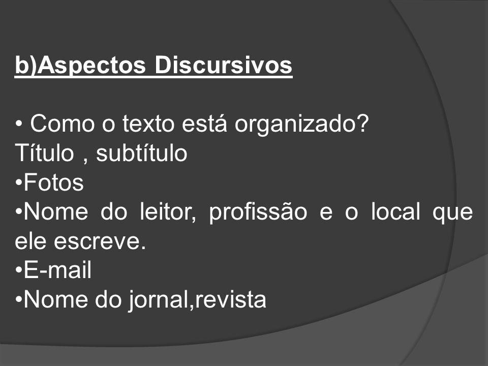 b)Aspectos Discursivos Como o texto está organizado? Título, subtítulo Fotos Nome do leitor, profissão e o local que ele escreve. E-mail Nome do jorna