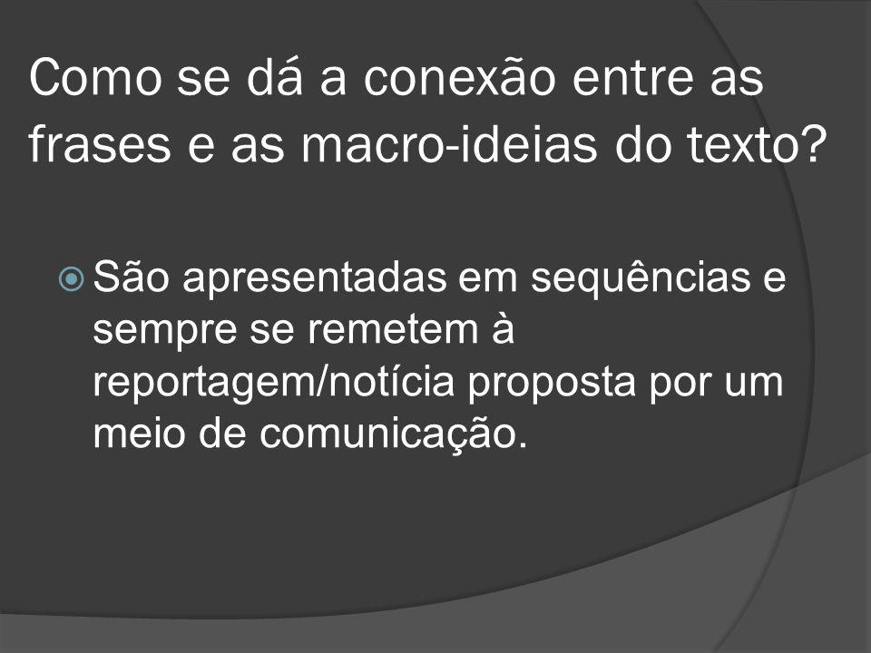 Como se dá a conexão entre as frases e as macro-ideias do texto? São apresentadas em sequências e sempre se remetem à reportagem/notícia proposta por