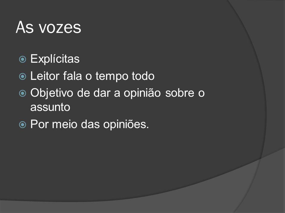 As vozes Explícitas Leitor fala o tempo todo Objetivo de dar a opinião sobre o assunto Por meio das opiniões.
