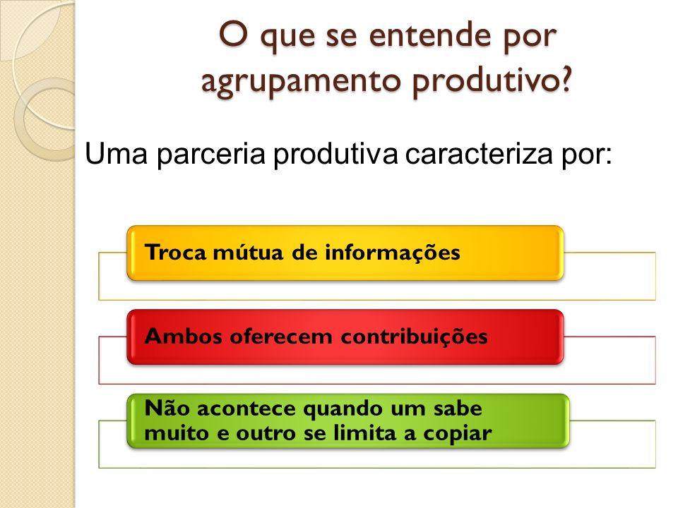 O que se entende por agrupamento produtivo? Troca mútua de informaçõesAmbos oferecem contribuições Não acontece quando um sabe muito e outro se limita