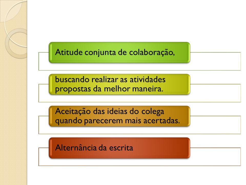 Atitude conjunta de colaboração, buscando realizar as atividades propostas da melhor maneira. Aceitação das ideias do colega quando parecerem mais ace