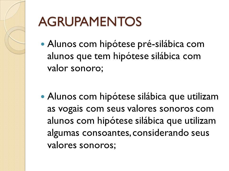 AGRUPAMENTOS Alunos com hipótese pré-silábica com alunos que tem hipótese silábica com valor sonoro; Alunos com hipótese silábica que utilizam as voga