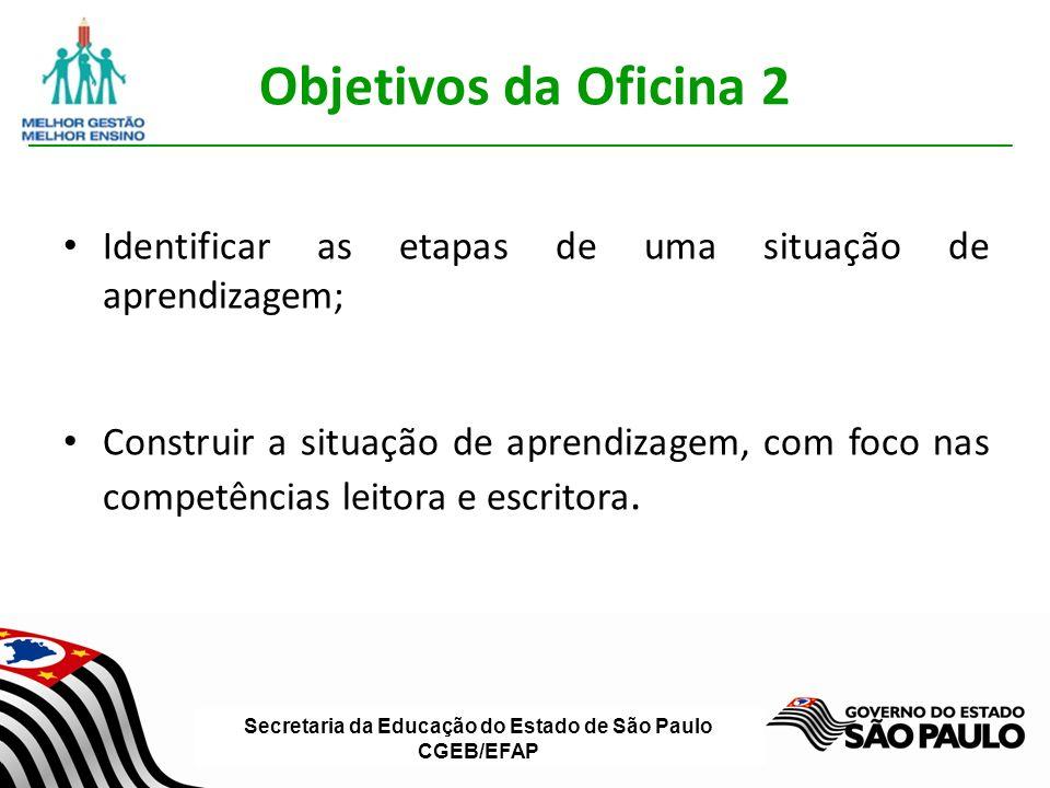 Secretaria da Educação do Estado de São Paulo CGEB/EFAP Objetivos da Oficina 2 Identificar as etapas de uma situação de aprendizagem; Construir a situação de aprendizagem, com foco nas competências leitora e escritora.