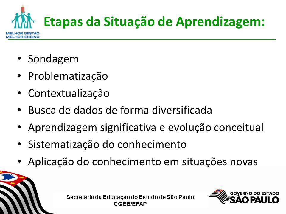Secretaria da Educação do Estado de São Paulo CGEB/EFAP Etapas da Situação de Aprendizagem: Sondagem Problematização Contextualização Busca de dados de forma diversificada Aprendizagem significativa e evolução conceitual Sistematização do conhecimento Aplicação do conhecimento em situações novas