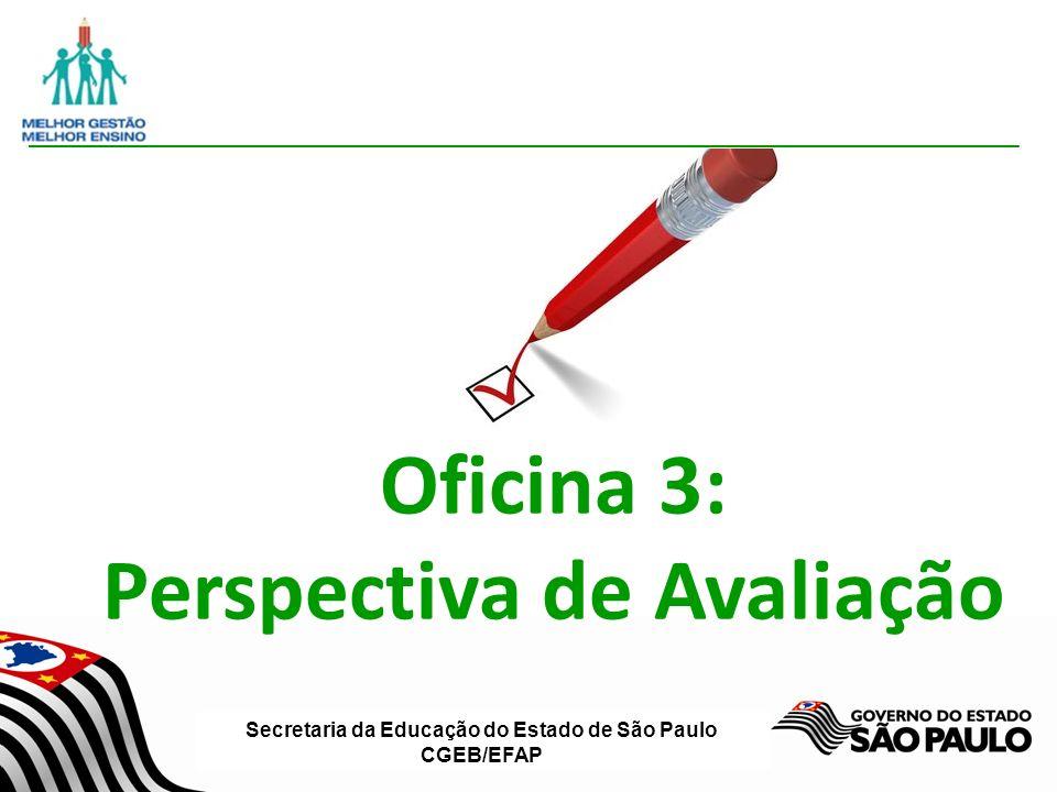 Secretaria da Educação do Estado de São Paulo CGEB/EFAP Oficina 3: Perspectiva de Avaliação