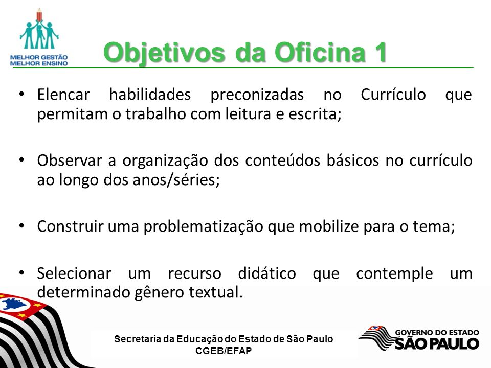 Secretaria da Educação do Estado de São Paulo CGEB/EFAP Objetivos da Oficina 3 Discutir a importância da avaliação no processo de aprendizagem; Refletir sobre os instrumentos de avaliação contínua, atrelados ao desenvolvimento das competências leitora e escritora; Elaborar estratégias para retomada dos conteúdos.