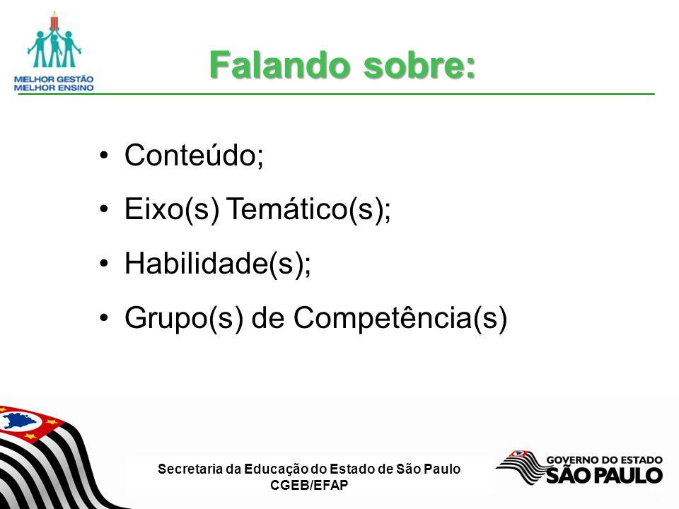 Secretaria da Educação do Estado de São Paulo CGEB/EFAP Slide 6 Conteúdo; Eixo(s) Temático(s); Habilidade(s); Grupo(s) de Competência(s) Falando sobre: