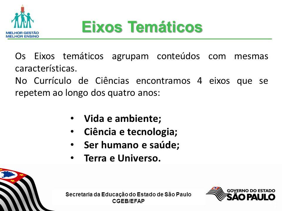 Secretaria da Educação do Estado de São Paulo CGEB/EFAP Slide 8 Os Eixos temáticos agrupam conteúdos com mesmas características.