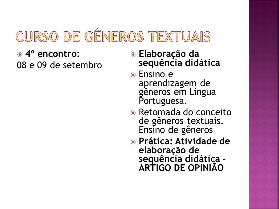 5º encontro: 15 e 16 de setembro Instrumento e artefato Gêneros textuais enquanto instrumentos para o ensino de língua portuguesa, o desenvolvimento dos alunos e do professor (Eliane Lousada, Bronckart, Anna Rachel Machado e Dolz e Scheneuwly) Capacidades De Linguagem Prática: Análise de texto baseado no modelo Interacionismo sócio- discursivo