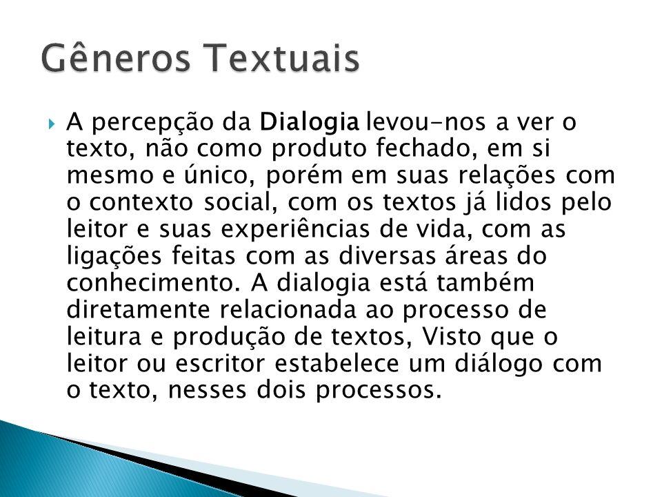 A percepção da Dialogia levou-nos a ver o texto, não como produto fechado, em si mesmo e único, porém em suas relações com o contexto social, com os t