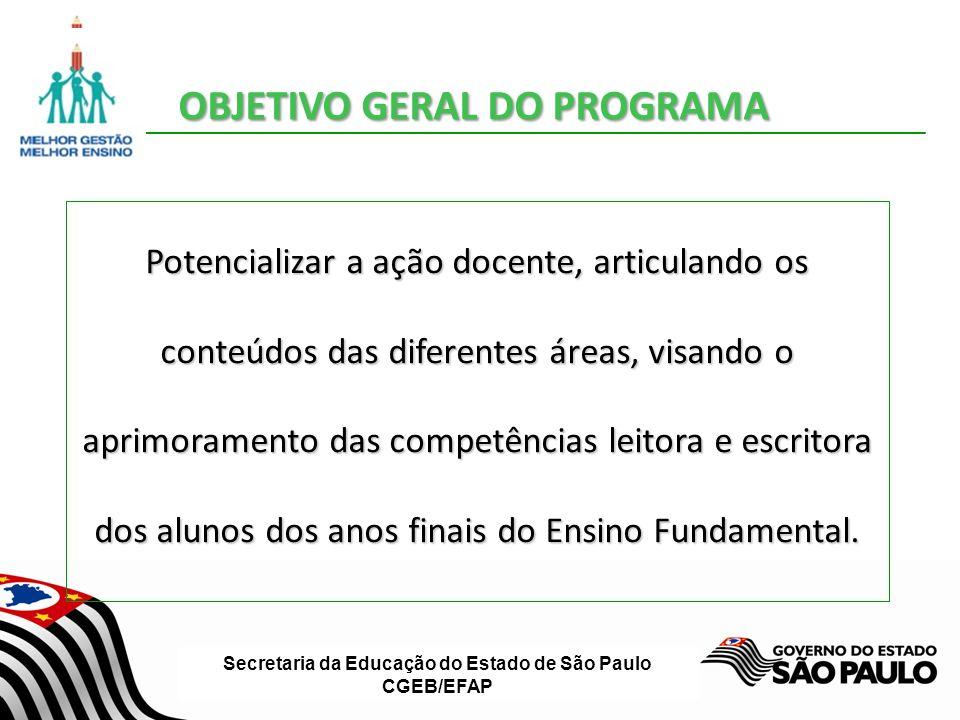 Secretaria da Educação do Estado de São Paulo CGEB/EFAP OBJETIVO GERAL DO PROGRAMA Potencializar a ação docente, articulando os conteúdos das diferent