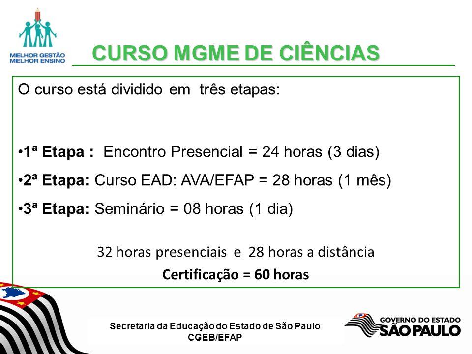 Secretaria da Educação do Estado de São Paulo CGEB/EFAP CURSO MGME DE CIÊNCIAS CURSO MGME DE CIÊNCIAS O curso está dividido em três etapas: 1ª Etapa :