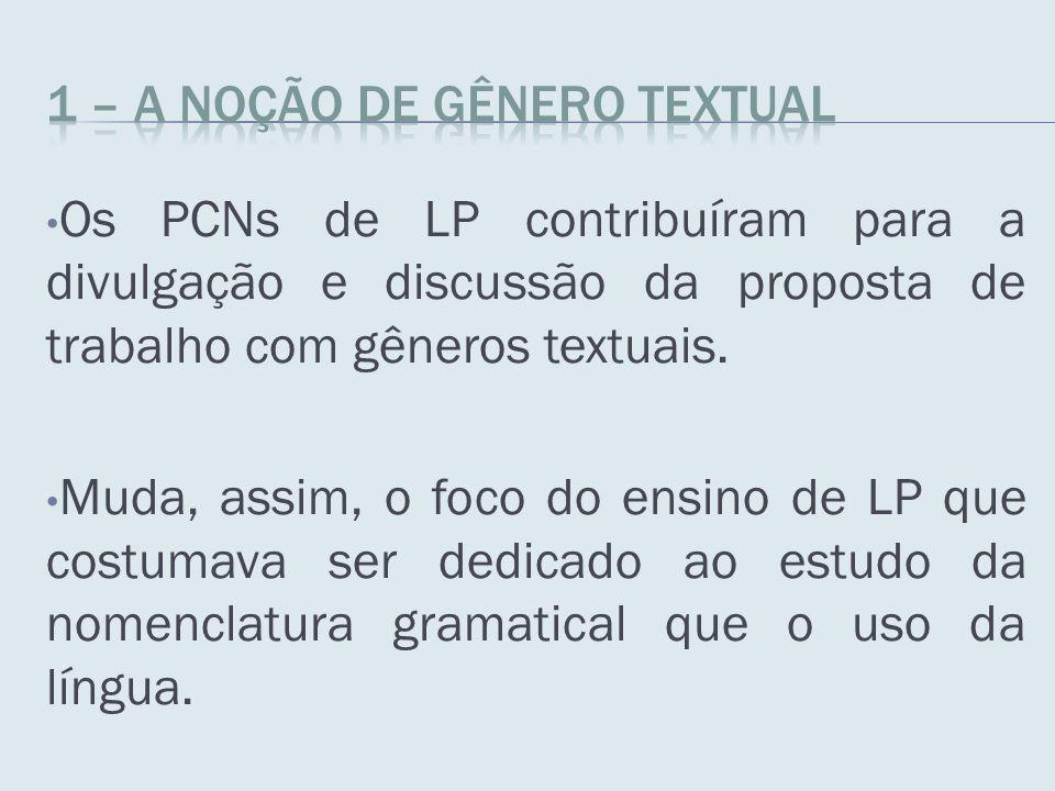 Os PCNs de LP contribuíram para a divulgação e discussão da proposta de trabalho com gêneros textuais. Muda, assim, o foco do ensino de LP que costuma