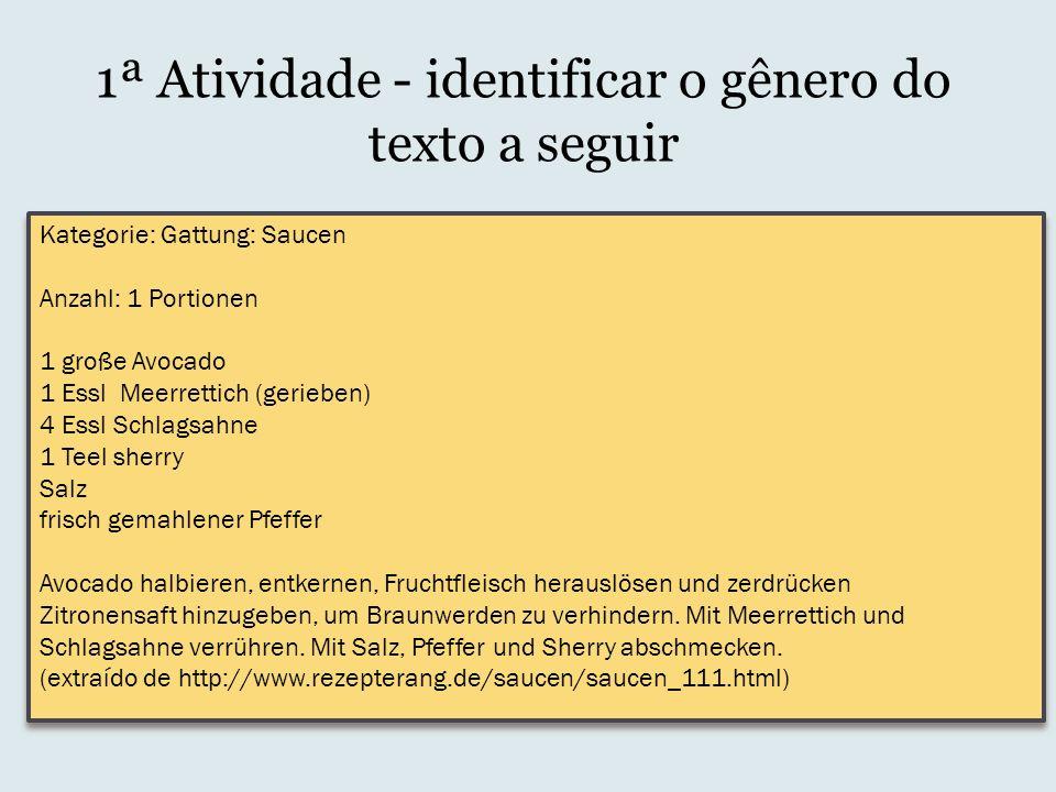 1ª Atividade - identificar o gênero do texto a seguir Kategorie: Gattung: Saucen Anzahl: 1 Portionen 1 große Avocado 1 Essl Meerrettich (gerieben) 4 E