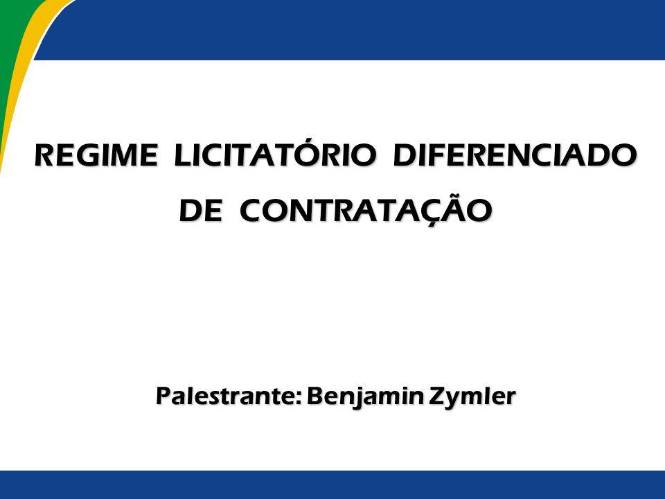 Regime Licitatório Diferenciado A presente apresentação está dividida nos seguintes tópicos: 1.
