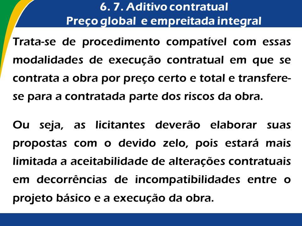 Trata-se de procedimento compatível com essas modalidades de execução contratual em que se contrata a obra por preço certo e total e transfere- se par