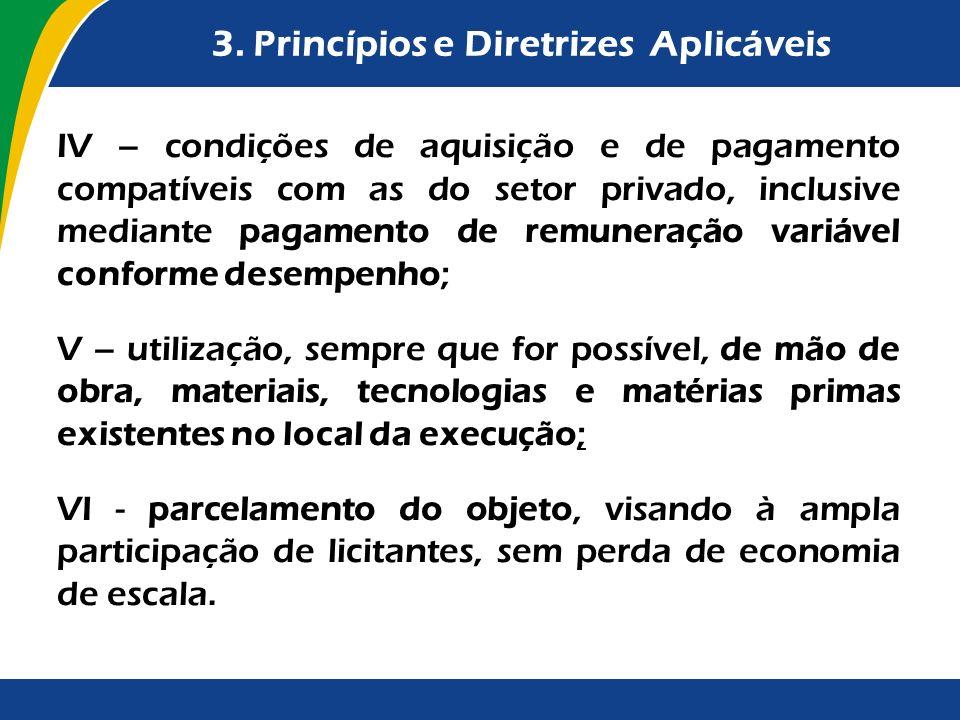 3. Princípios e Diretrizes Aplicáveis IV – condições de aquisição e de pagamento compatíveis com as do setor privado, inclusive mediante pagamento de