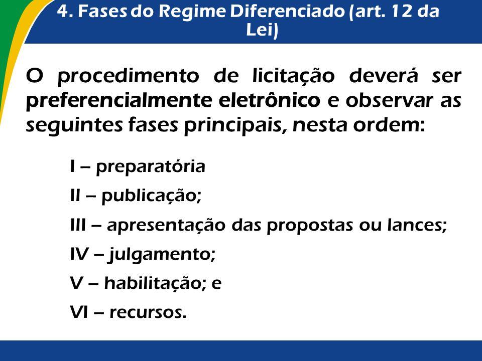 4. Fases do Regime Diferenciado (art. 12 da Lei) O procedimento de licitação deverá ser preferencialmente eletrônico e observar as seguintes fases pri