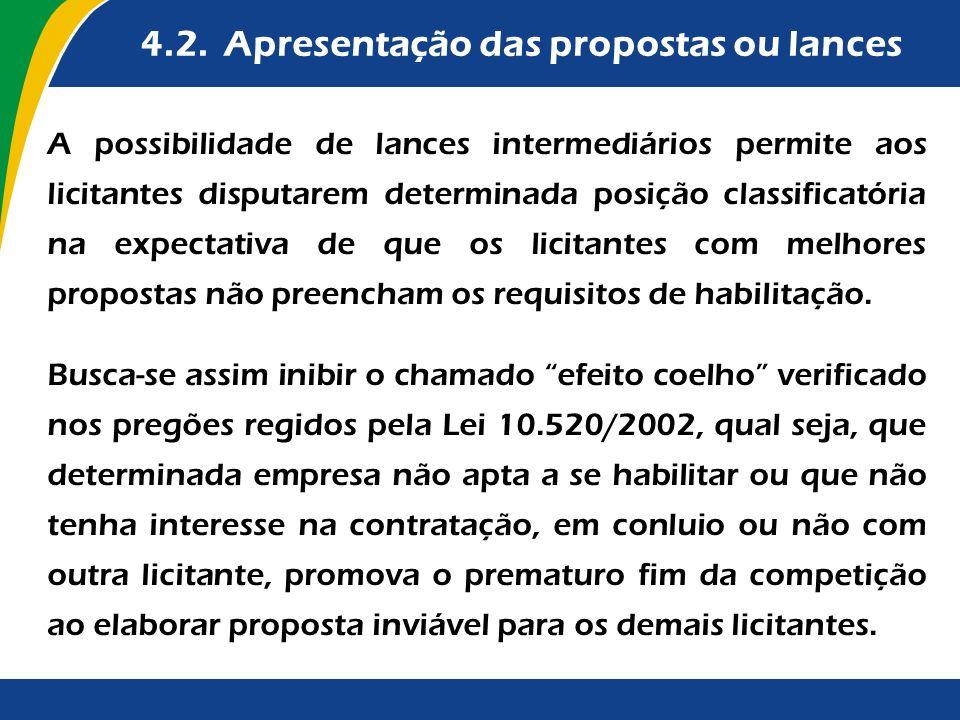 4.2. Apresentação das propostas ou lances A possibilidade de lances intermediários permite aos licitantes disputarem determinada posição classificatór