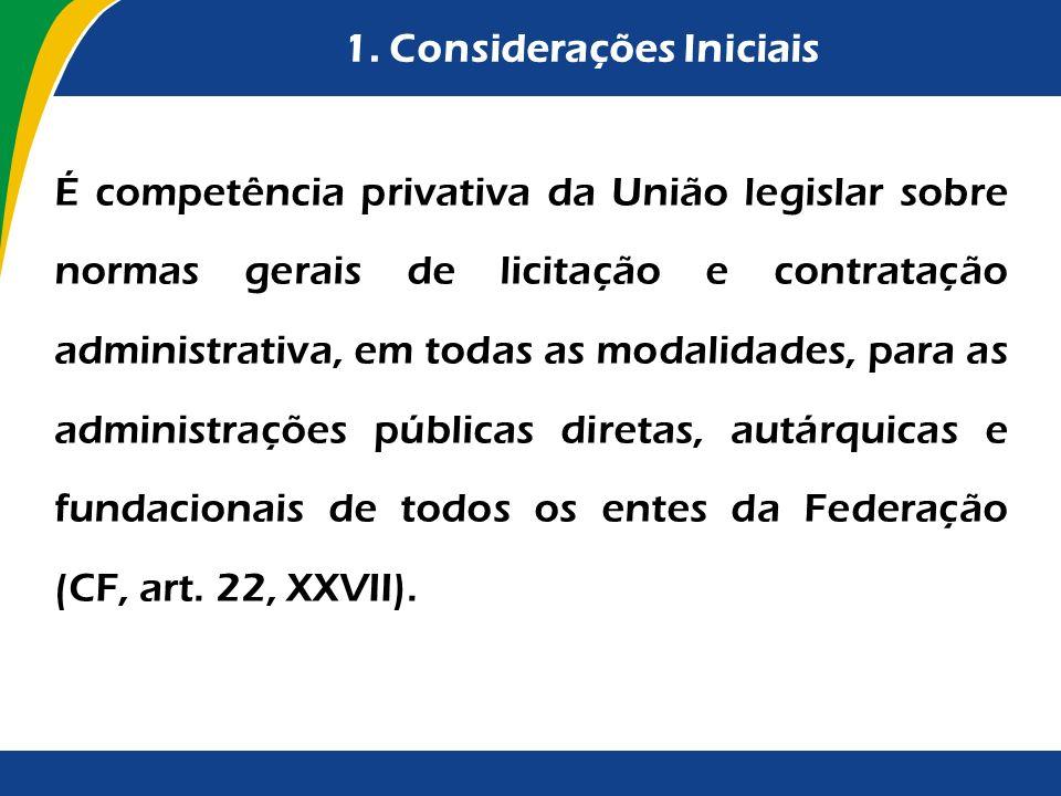 1. Considerações Iniciais É competência privativa da União legislar sobre normas gerais de licitação e contratação administrativa, em todas as modalid
