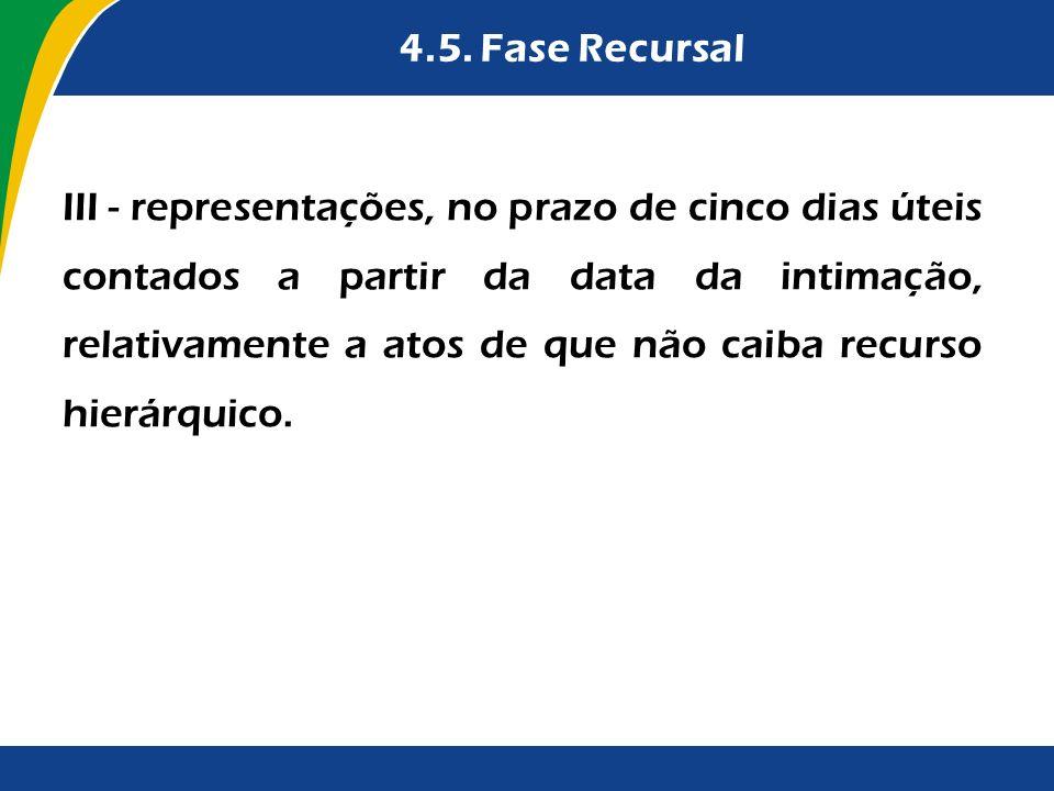 4.5. Fase Recursal III - representações, no prazo de cinco dias úteis contados a partir da data da intimação, relativamente a atos de que não caiba re