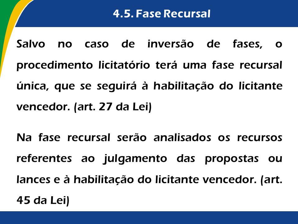 4.5. Fase Recursal Salvo no caso de inversão de fases, o procedimento licitatório terá uma fase recursal única, que se seguirá à habilitação do licita