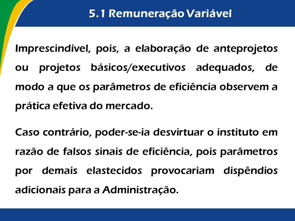 5.1 Remuneração Variável Imprescindível, pois, a elaboração de anteprojetos ou projetos básicos/executivos adequados, de modo a que os parâmetros de e