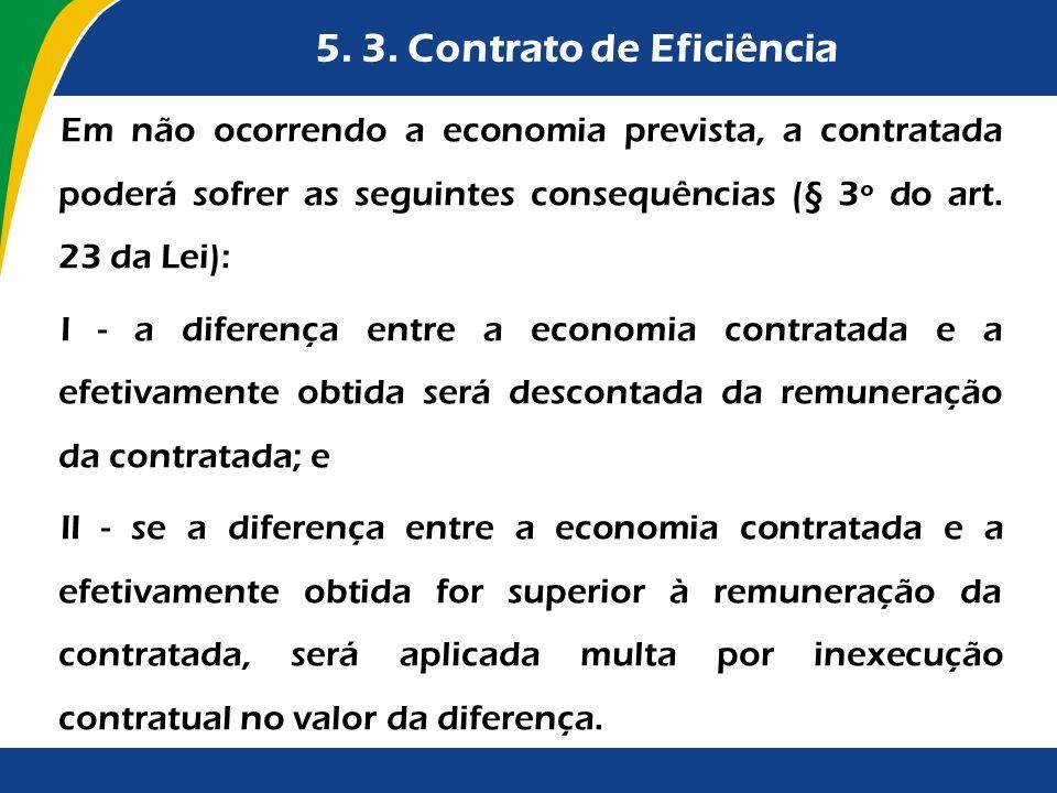 5. 3. Contrato de Eficiência Em não ocorrendo a economia prevista, a contratada poderá sofrer as seguintes consequências (§ 3º do art. 23 da Lei): I -